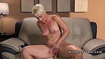 Solo blonde cougar fucks machine