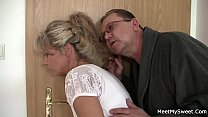 He finds old couple fuck his blonde teen gf