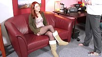 Totally awesome innocent redhead came to fake casting for big hard cock