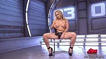 Busty blonde Milf rides fucking machine