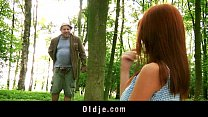 Weird old forest man fucks redhead into the woods preview image