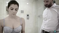 Wealthy man intimidates his maid into nude cleaning