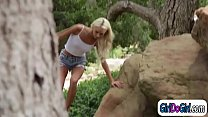 Emma Hix is watching Abella Danger masturbating in the woods