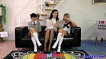 Uniform lesbians pussylicking in trio