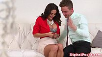 Busty MILF doggystyled and jizzed on tits Thumbnail