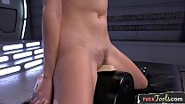 Dildo fucked babe squirting on all fours thumbnail