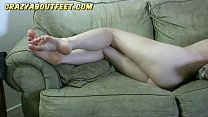 Addie Juniper amateur shy girl showing and playing with her feet
