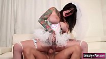 Ink babe gets fucked n cums on her tits thumb