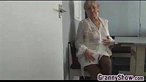 Grandma Teasing Her Pussy With Panties On image