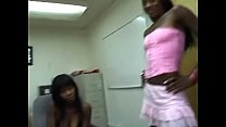 Lucky White Stud Gets Cock Sucked By Three Ebony Bitches Then They Share Cum