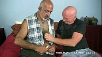 two old guy bareback in a motel room. thumbnail
