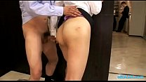 Horny Office Lady Fingered While Standing Jerking Off Guy Cock Cum To Legs At Th Vorschaubild