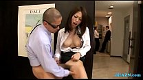 Horny Office Lady Fingered While Standing Jerking Off Guy Cock Cum To Legs At Th preview image