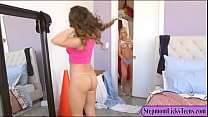 Naughty mom and teen girl amazing lesbosex on t...