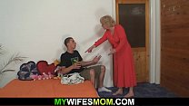 Image: Old blonde mother in law riding his cock