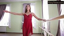 Horny gymnast Inessa in a red dress thumbnail