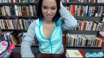 sexy teen latina gets naked and massages her pussy in public library preview image