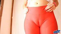Huge Cameltoe! Tight Spandex Leggins- Huge Pussy Lips Teen and Massive Breasts.
