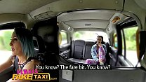 Female Fake Taxi Lesbian tight pussy fuck with a strap on dildo
