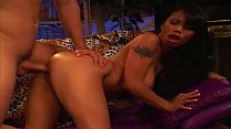 Exotic brunette with fine tits swallows white c...