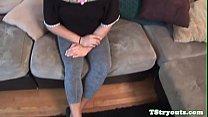 Casting trans amateur gets filmed wanking