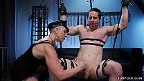 Big tits mistress is beating man slave