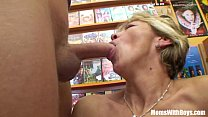 Grandma Miluska Fucking A Young Video Store Clerk thumbnail
