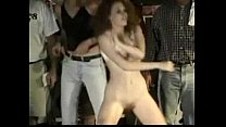 Red head gets naked in front of crowd