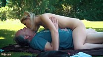 Bubble Butt Twink - Petite teen fucked hard by grandpa on a picnic she blows and swallows him thumbnail
