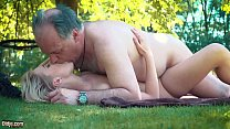 Petite teen fucked hard by grandpa on a picnic she blows and swallows him preview image