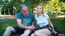Petite teen fucked hard by grandpa on a picnic she blows and swallows him - 9Club.Top