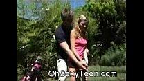Amateur teen blonde Sucking At Golf