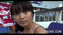 Talented asian cutie sucks a schlong and grinds on it hard preview image