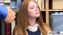 Afraid small tits redhead teen busted by a LP officer thumbnail
