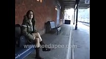 Bursting To Pee At Railway Station, Sexy Lady R...
