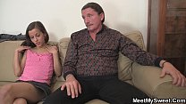 Hot 3some with mature couple and teen