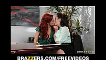 Dominant redhead lesbian convinces her co-worker to experiment image