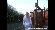 English Blonde Babe Crystel Lei Flashing Aston