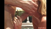 Alexis Malone sucking cock by the pool.