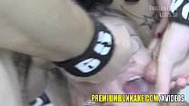 Beautiful blonde mouthful of cum facialized and swallows صورة