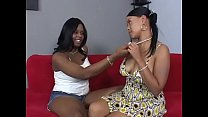 Black Sapphic girl Brown Sugar bends over and gets her salad tossed by black girl Olivia Winters