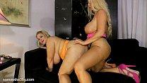 Busty Blonde Karen Fucks Fat Ass Samantha 38G with Strap On image
