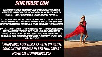 Sindy Rose fuck her ass with big white dong on the terrace in red mini dress