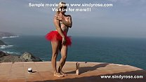 Sindy Rose fuck her ass with big white dong on the terrace in red mini dress Preview