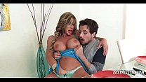 Step mom teasing son by showing panties