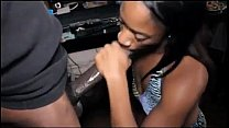 Intense Ebony chick gives huge black cock a passionate blowjob - DamnCam.net