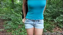 Busty latin babe gets banged in the park