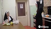 Two Horny Nuns Put A Carrot & Banana Inside Their Pussies