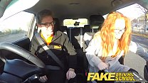 Fake Driving School Nerdy ginger teen fucked to creampie orgasm thumbnail