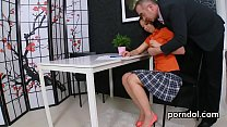Cuddly schoolgirl gets tempted and penetrated by older instructor